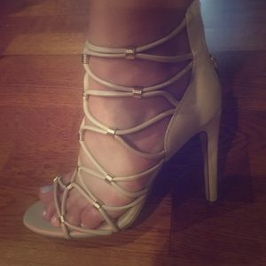 Aldo nude and gold strappy shoes